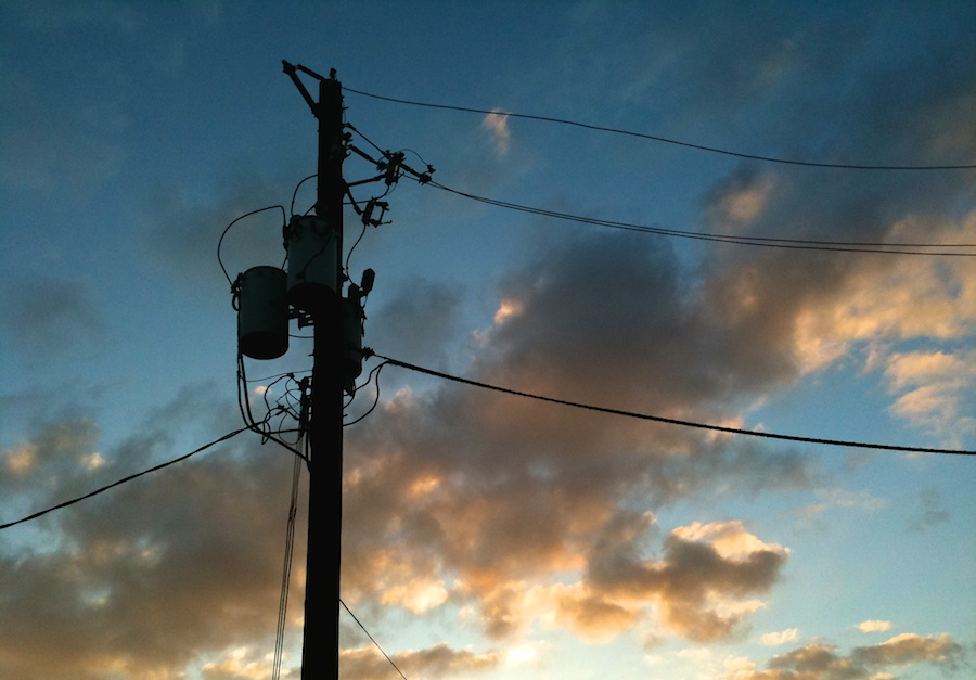 Telephone wires at sunset