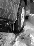 Ice and snow, truck tire.