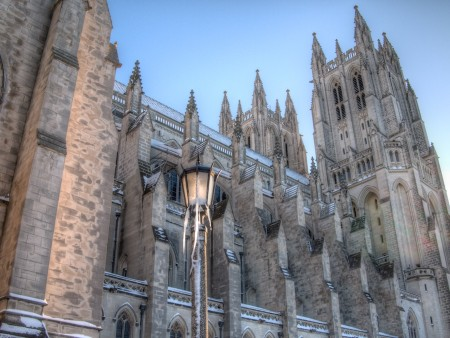 Washington National Cathedral after a snowstorm