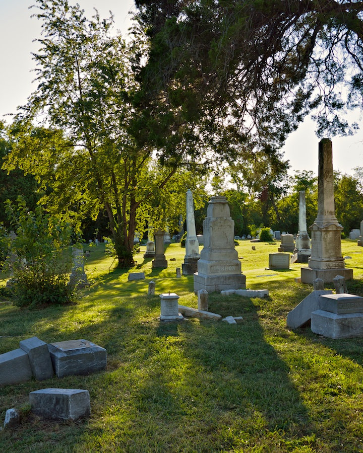 Vandalized gravestones at Holy Rood Cemetery, Georgetown, Washington DC