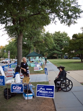 Campaign workers at a polling place, DC primary.