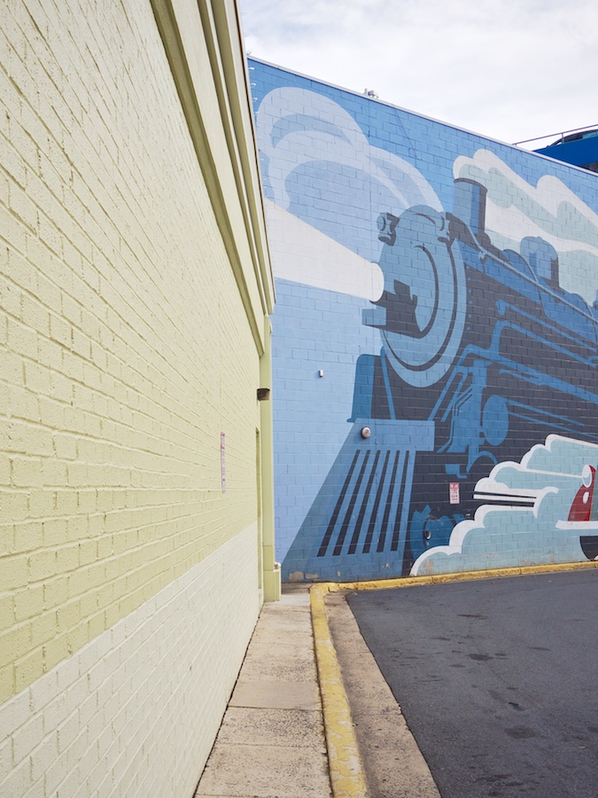 Mural of train in Bethesda, MD