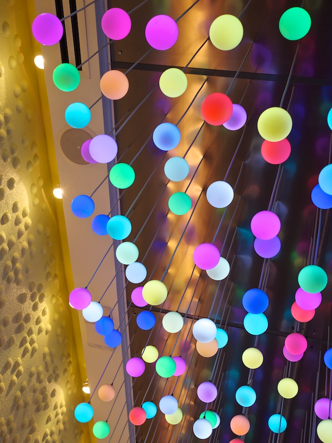 Colorful light fixtures.