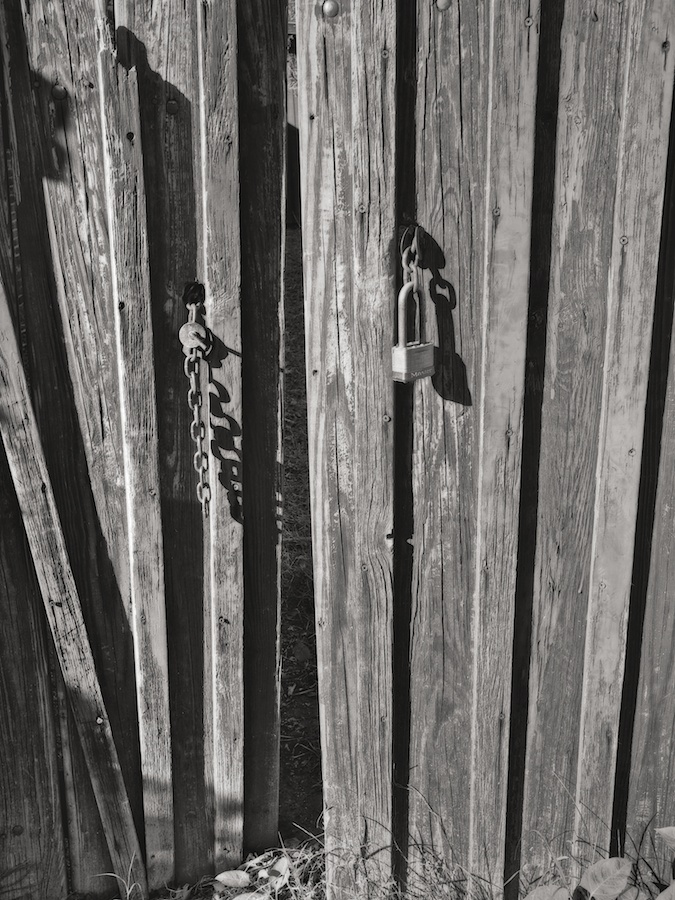 Wooden fence, slightly open.