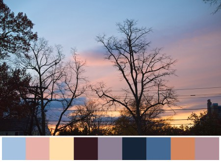 Sunset with selected color swatches.