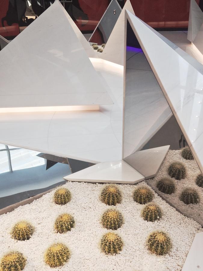 Sculptural cactus garden at Aria, Las Vegas.