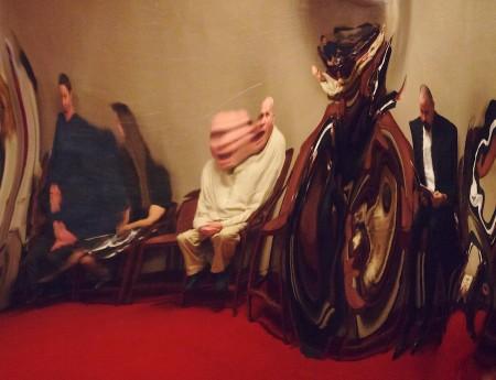 Distortions in a metal sculpture.