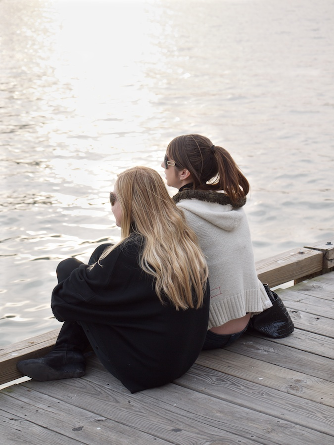 Two girls on the boardwalk.