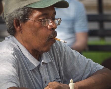 Chess player at outdoor tables, Dupont Circle, Washington, DC