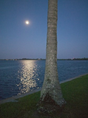 Almost-supermoon rises over Ft. Myers, FL