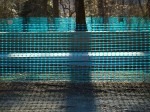 Blue plastic construction netting
