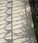 Patterned shadow on pavement.