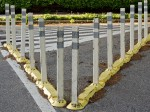 Plastic road stanchions.