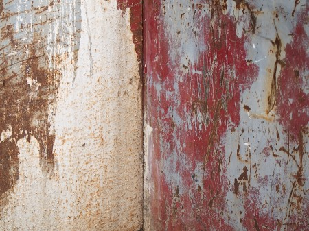 Distressed metal surfaces.