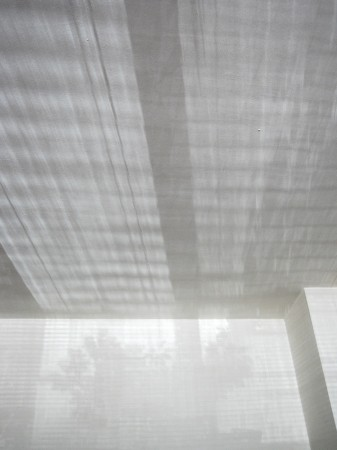 Window shadows on white walls and ceiling.