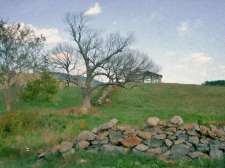 Field with stone wall and barn.