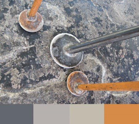 Metal furniture feet and color palette.