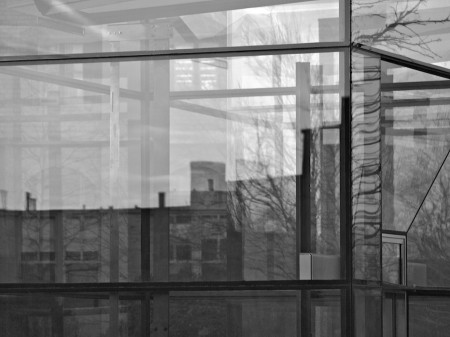 Layered eflections in glass (b&amp;w)