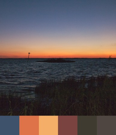 Sunset with color palette