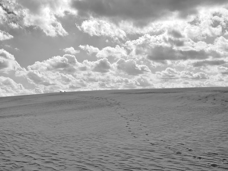 Dune footsteps leading to people on a faraway horizon.