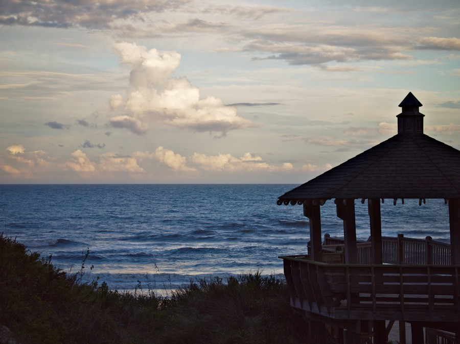 Gazebo, dune, sky, and sea in Corolla, NC