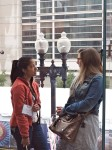 Two women conversing at TEDxMidAtlantic