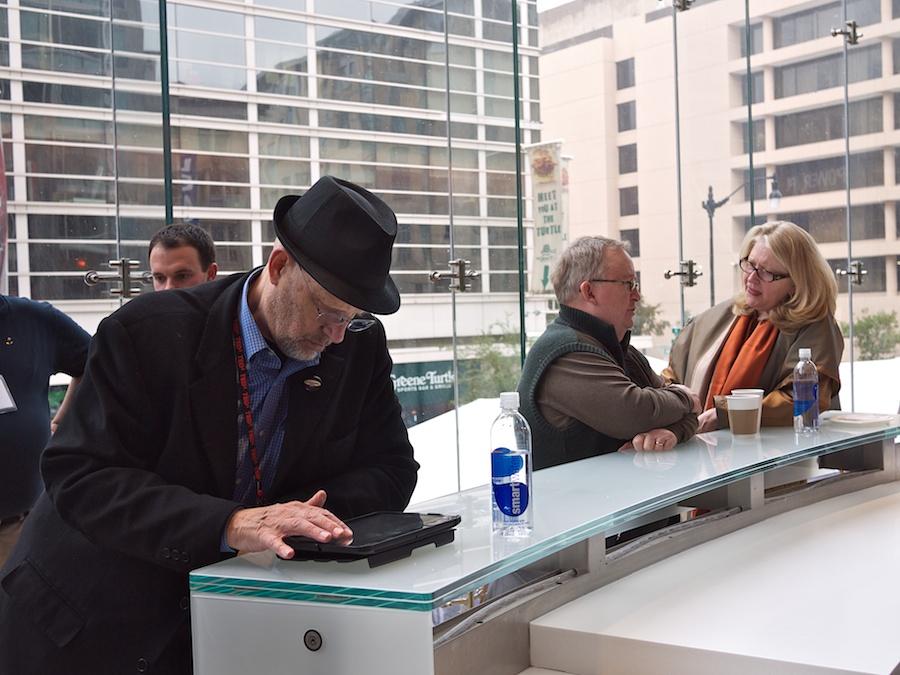 Three people on break at TEDxMidAtlantic