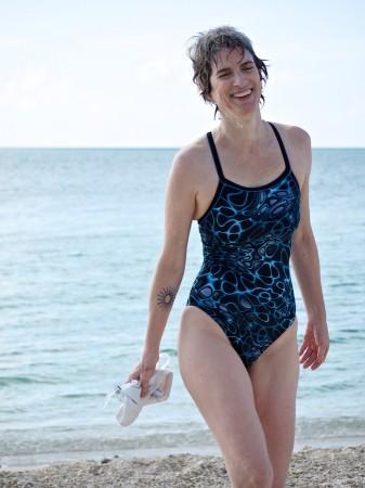 Amy in bathing suit.