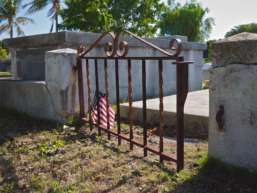 Low iron gate and small American flat, Key West Cemetery
