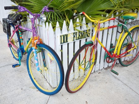 Colorfully painted bikes, decorated with beads, Key West, FL