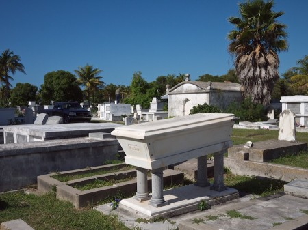 Coffin-shaped grave monument.