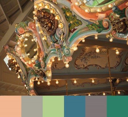 Old-fashioned carousel and color palette.
