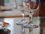 Glassware on tabletop.
