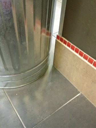 Trashcan & tiling, Albuquerque health club.