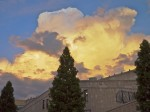 Sunset-lit cloud over the Grove Arcade, Asheville, NC