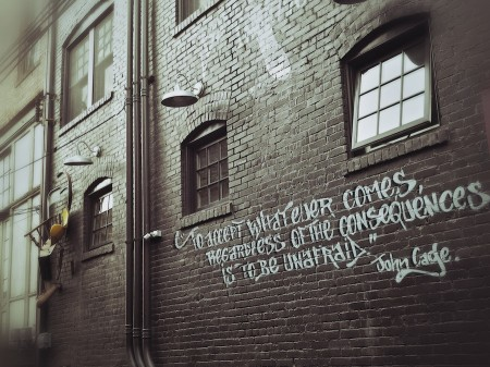 John Cage quotation on Asheville Alley wall, site of original Black Mountain College, NC