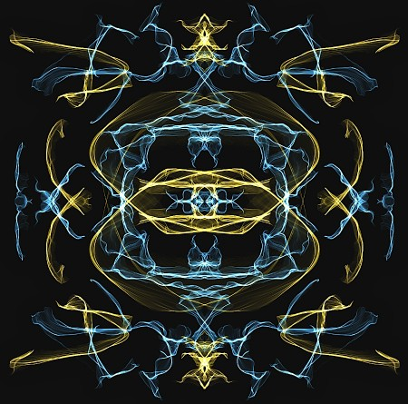 Symmetrical pattern of grey and yellow transparent wisps on black ground.