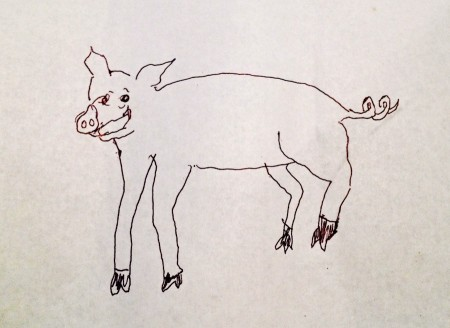 Line drawing of a pig.