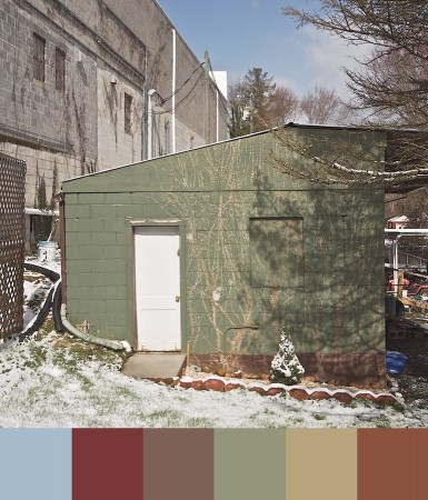 Outbuilding image with color palette.