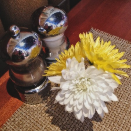 Salt & pepper and flowers.