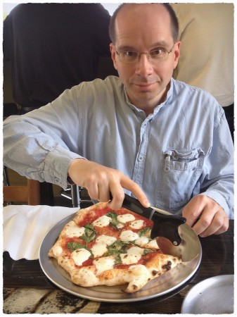 Bob with margherita pizza.