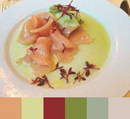 Appetizer with color palette.