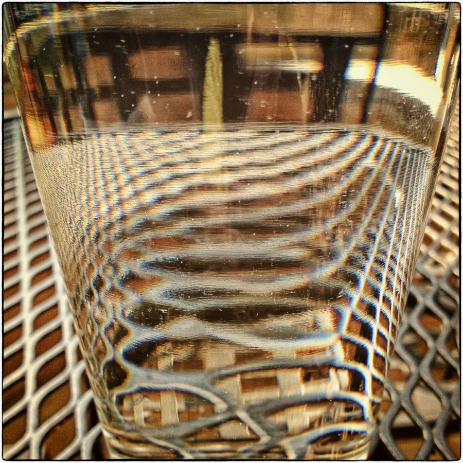 Distortions through a glass of water.