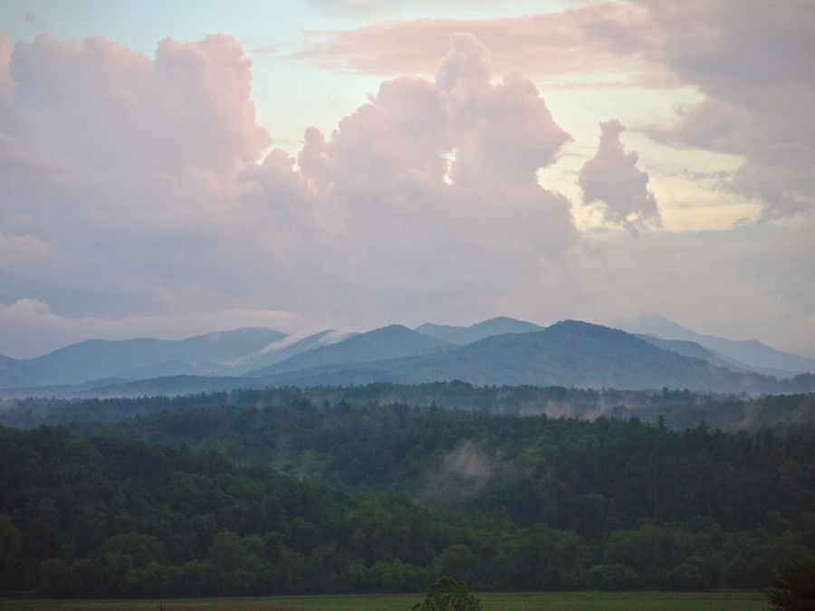 Clouds and fog over the Pisgah mountains.