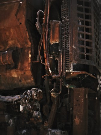 Decaying big rig interior machinery.