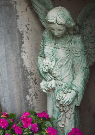 Stone angel and flowers.