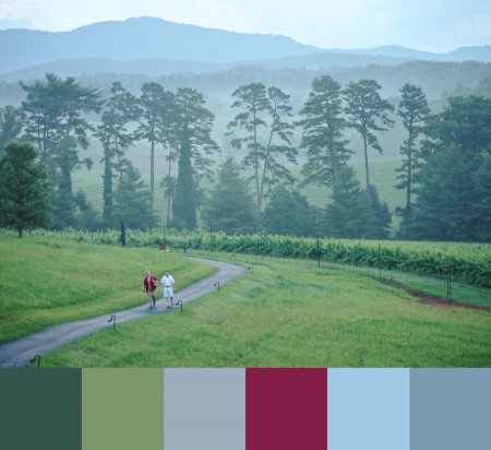 People walking at the Inn on Biltmore Estate, with color palette