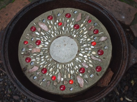 Stone and glass bead decorative circle.