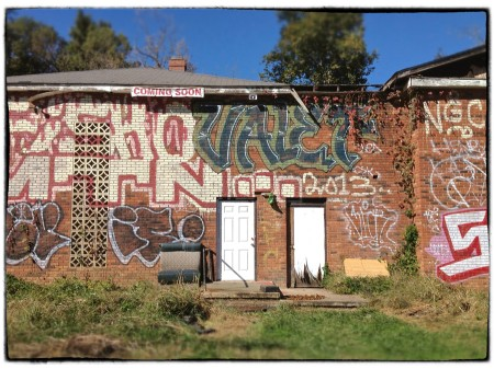 Graffitied building, Asheville, NC