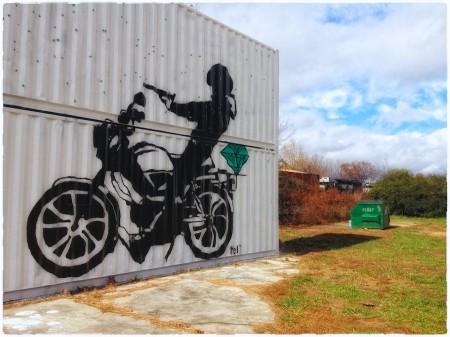 Grafitti mural with train, River Arts District, Asheville, NC
